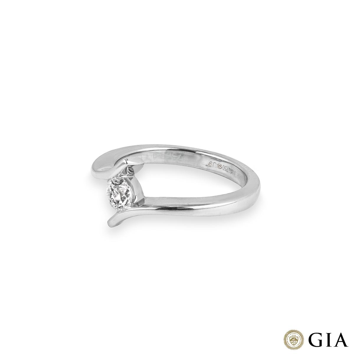 18k White Gold Round Brilliant Cut Diamond Ring 0.43ct F/VS1